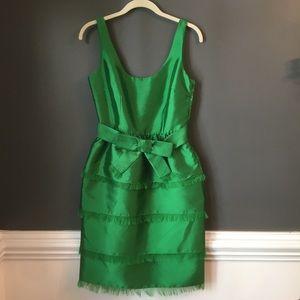 Kate Spade Tiered Belt Emerald Silk Cocktail Dress